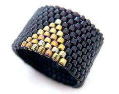 Black and Gold Ring Black Ring Beaded Ring Dreadlock Bead