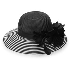 San Diego Hat Company Striped Floral Dress Hat (79 BGN) ❤ liked on Polyvore featuring accessories, hats, stripe hat, white and black hat, black and white straw hat, dome hats and brimmed hat