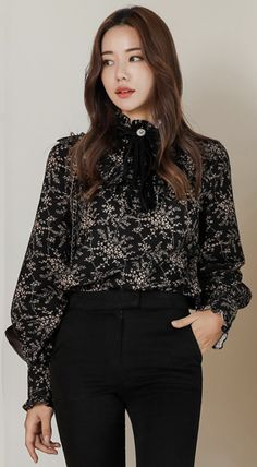 0866fe10053 Paisley Print Velvet Ribbon Brushed Blouse