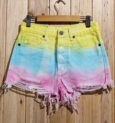 Fun Ombre Bleached Shorts Fashion! Women's Stylish Yellow Pink Blue  Ombre Bleach Wash Ripped Colorful Shorts #Colorful #Ripped #Bleached #OMbre #Shorts #Fashion #Yellow #Pink #Aqua_Blue #Beach #Style