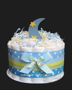 @Kelsey Barton Crawford: 1 Tier Moon and Stars Baby Shower Diaper Cake/ Centerpiece.