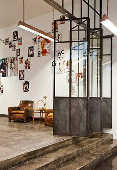Glass and metal dividers // love the warehouse look!