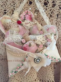 Valentine Shabby Rose and DYI Lace Kit by TeasHopeChest on Etsy