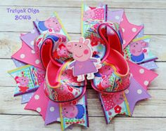 Peppa Pig Inspired Bow Peppa Pig stacked hair by Boutiqueofbeauty