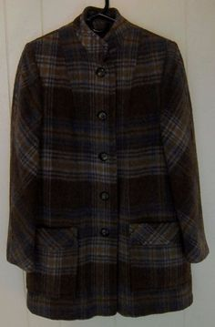 Vintage Wool Blend Plaid Women's S Coat Jacket Lined Brown Blue Passport #Passport #BasicCoat