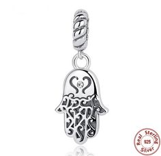 www.Keren-Center.com  925 Sterling Silver Lucky Hamsa Hand Pendants Charm fit Original PANDORA Bracelet
