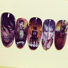 進撃の巨人(Attack on Titan) : Character nail art Je veux ça sur les ongles XD Crazy Nail Art, Cute Nail Art, Beautiful Nail Art, Cute Nails, Maquillage Cosplay Anime, Japan Nail Art, Anime Nails, Anime Drawing Styles, Kawaii Nails