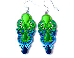 Green And Blue Earrings Navy Neon Modern Chandelier Summer Holiday Colorful Statement Handmade Fimo Polymer Clay Jewelry
