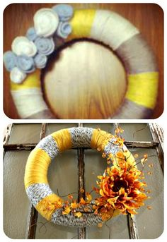 Yellow and Grey Yarn Wreath with Flower