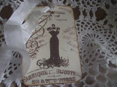French Inspired  Gift Tag  Dress Tag  Hand by ShoppeLaFluer, $5.00