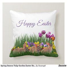 Spring Season Tulip Garden Easter Holiday Throw Pillow