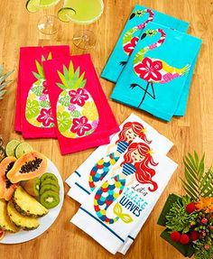 "Perk up your kitchen with the happy colors in this Set of 2 Novelty Kitchen Towels. They're ideal for drying your hands or wiping up spills. 16"" x 25"", each. Co"