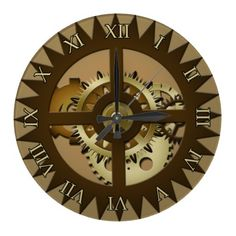 Steampunk Roman Numeral Wall Clock. Home decor, interior design. Gears and Cogs, Mechanical, Engineering, Metal, Industrial, Gift, machinery