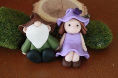 Polymer Clay Gnome Couple - Fairy Garden Accessory - Miniature Gnome - Terrarium Accessories