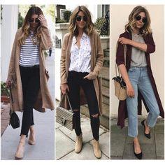 """245 curtidas, 2 comentários - Caroline Pasetti&Sheila Liotti (@mulheresdebomgosto) no Instagram: """"Para quem gosta de compor um visual mais descontraído, os cardigans longos são ótima opção!…"""""""
