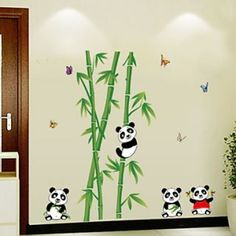 Bamboo Panda And Butterfly Living Room Decorative Wall Stickers Kids Room Wall Stickers, Wall Decor Stickers, Diy Stickers, Animal Wall Decals, Bamboo Wall, Wall Murals, Living Room Decor, Panda, Butterfly