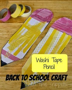 School Time Snippets: Washi Tape Pencil Craft for Preschool-2nd Grade