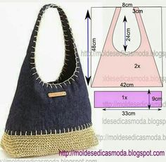 Crochet and jeans bag Crochet Handbags, Crochet Purses, Fabric Bags, Denim Fabric, Sacs Tote Bags, Old Jeans, Purse Patterns, Denim Bag Patterns, Paper Patterns