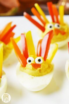 Deviled Egg Turkeys ⋆ Easy Turkey Shaped Deviled Eggs ⋆ Sprinkle Some Fun Thanksgiving Deviled Eggs, Thanksgiving Recipes, Holiday Recipes, Thanksgiving Appetizers, Cookies Ingredients, Easy Spritz Cookie Recipe, Recipe Using Hard Boiled Eggs, Almond Butter, Coconut Oil