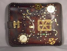 Steampunk leather case Ipad Netbook by ILeatherCraft on Etsy