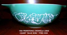 "LEMP EST.GORGEOUS RARE 1960 PROMOTIONAL  CINDERELLA ""SALAD BOWL"" PYREX ♥♥  This Vintage 1960 four quart beautifully decorated Promotional Cinderella bowl is in very good condition. It's the only Pyrex dish with this exact color and pattern ! The teal green and white fruit décor is what catches your eye, but if you look closely at the pattern you can see a baby with outstretched arms. ♥ $39.99 OBO. We accept ""Bill Me Later"" thru Paypal & have sold many of our treasures thru Best Offers.♥"