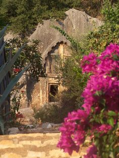 An ancient Lycian tomb and a lovely Bougainvillea at Kaş, ancient Antiphellos, in Lycia.