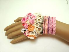 Handmade Beaded Crochet Cuff Lace Colorful by PIPPADUSHES