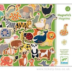 A sturdy box of 42 beautiful wooden animal magnets. Design Marie Paruit  Suitable From 2+ years Dimensions Box 21.8 x 18.8 x 4cm Brand Djeco Product Code DJ03124 Barcode 3070900031241