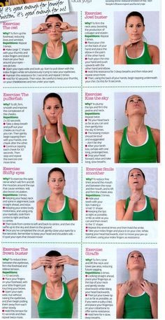 Did you know that there are facial exercises that can create a healthy glow & shine on your face? Here is a list of yoga for face exercises for slimming. Yoga Facial, Facial Massage, Face Facial, Facial Tips, Yoga Fitness, Fitness Tips, Health Fitness, Fitness Classes, Fitness Routines