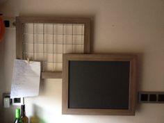 Zelf gemaakt met lijsten van Ikea... Krijtbord en memobord