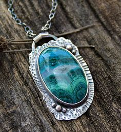 Chrysocolla Stone Sterling Silver Necklace One of a by joykruse, $135.00