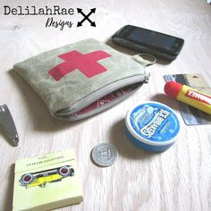 Waxed Canvas Utility Pocket Zippered Pouch by DelilahRaeDesigns