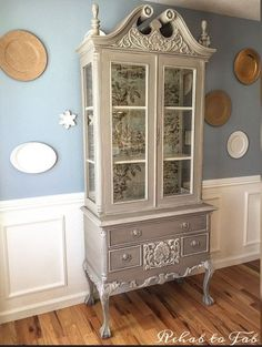 Absolutely stunning French Country Toile Hutch makeover - when you see the before you will be in awe of this after!