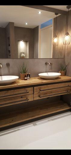 Badkamer met betonlook Architectural Design House Plans, Architecture Design, Bathrooms, Bathtub, Vanity, House Design, Bath, Log Home, Standing Bath