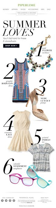 Piperlime Summer Loves trend email 2014