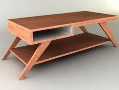 Retro Mid Century Minimalist Style Abstract Coffee Table with Storage  $449.99