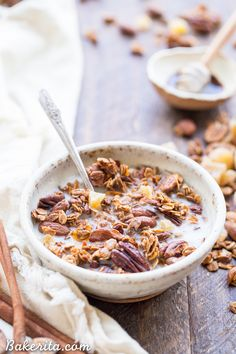 This Gingerbread Granola is crunchy & full of clusters, with loads of warm gingerbread spices, molasses, and bits of chewy crystallized ginger. This gluten-free and vegan breakfast is perfect for breakfast, or to package up in a cute jar and gift as a gift!