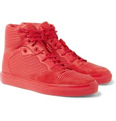 Balenciaga Cambure Panelled Leather High Top Sneakers via Mr Porter