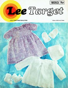 Items similar to PDF Vintage Baby Girl Dress Knitting Pattern Purple Lacy Matinee Lee Target 9053 Yoke EASY Pram Set Bonnet Mitts Bootees Heirloom on Etsy Easy Knitting, Knitting Patterns, Baby Girl Purple, Quick Knits, Baby Bonnets, Baby Christening, Special Dresses, Vintage Knitting, Knit Patterns