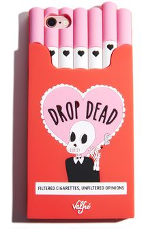 Valfré Drop Dead Cigarette iPhone Case cuz you always keep it real. This flexible phone case snugly grips your phone and has a cigarette carton shape with a smokin' skeleton on the back.