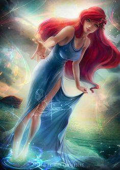 Disney Fantasy, Fantasy Art, We Heart It, Mermaid Illustration, Disney Princess Art, Deviantart, Mermaid Art, Disney Animation, Disney Movies