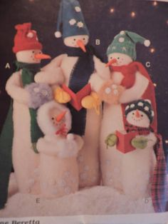 Pattern and instructions to make Snow Carolers in and sizes. McCall's 849 is uncut and factory folded and was created by Joanne Beretta. Caroler, How To Make Snow, Stage Play, Costume Patterns, Cool Patterns, Home Decor Items, Snowmen, Decorating Your Home, Cross Stitch Patterns