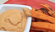 Sweet potato fries and curry mayo dip. Cooked the fries an extra 10 minutes and used garam masala instead of traditional curry powder...so yummy.