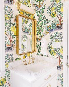 Schumacher wallpaper bathroom home ideas Powder Room Wallpaper, Bathroom Wallpaper, Home Design, Little Pool, Powder Room Design, Interior House Colors, Interior Design, Modern Interior, Paper Light