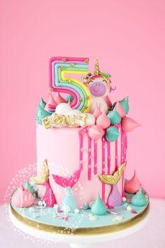 Magically fun Rainbow Unicorn and Mermaid Birthday Cake! - Magically fun Rainbow Unicorn and Mermaid Birthday Cake! 6th Birthday Cakes, Mermaid Birthday Cakes, Mermaid Cakes, Rainbow Birthday, Birthday Cake Girls, Bright Birthday Cakes, Princess Birthday, Birthday Ideas, Unicorne Cake