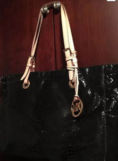 Michael Kors Handbag Jet Set Tote Embossed Python Leather Black-Gold Zippers    eBay