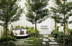 gartengestaltung beispiele gartengestaltung ideen mit steinen sofa