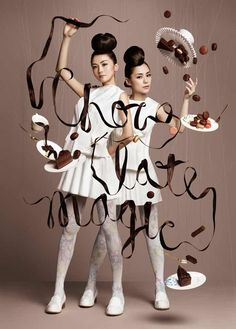 This gourmet chocolate masterpiece isthe work of NAM, a Tokyo-based collective of art firms known for creating images were people and objects defy gravity. What's amazing is that the pictures were taken without using Photoshop, with the illusion of floating chocolate created by using clear strings and cables with models suspended in harnesses.