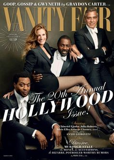 Julia Roberts poses with (front left) Chiwetel Ejiofor, Idris Elba and George Clooney on the March cover of Vanity Fair. by ANNIE LEIBOVITZ EXCLUSIVELY FOR VANITY FAIR.