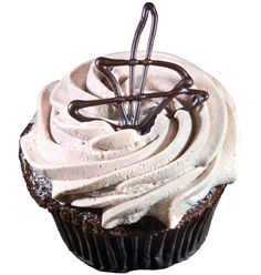 Kahlua cupcake -- chocolate cupcake filled with Kahlua pastry cream, topped with cocoa whipped cream frosting...